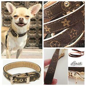 Designer Monogram Brown Tartan Chequered Plaid Puppy Kitten Dog Collar or Leash