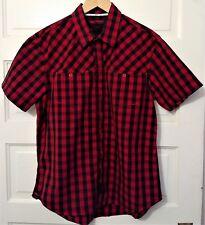 Tony Hawk S/S Red/Black Plaid Men's Shirt Size M Medium 100% Cotton