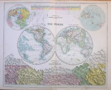 1897 ANTIQUE MAP THE WORLD WESTERN EASTERN HEMISPHERES MOUNTAINS RIVERS WATER