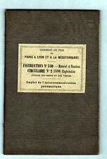 """CHEMIN de FER FRANCAIS """"INTERCOMMUNICATION PNEUMATIQUE"""" livret INSTRUCTION 1890"""