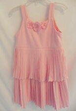 Gymboree Girls Pink Layer sleeveless Dress w/ flowers on the front Sz 6