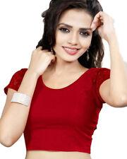 Ready Made Maroon Lycra Free Size Designer Sari Saree Choli Top Blouse-GC101
