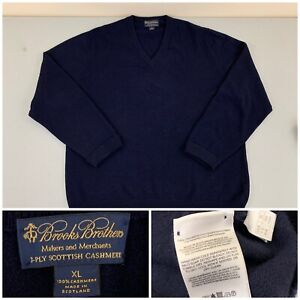 Brook Brothers Mens 3-PLY SCOTTISH CASHMERE V Neck Sweater XL Navy Blue