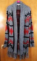JACK BY BB DAKOTA XS Gray Red Black Aztec Open Fringe Cardigan Duster Sweater