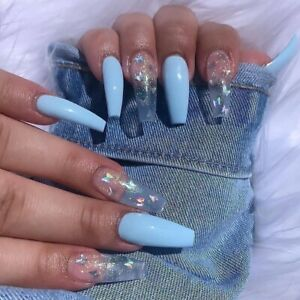 24Pcs Fake Nails Long Coffin Acrylic Laser Blue Glitter Butterfly Press On Nails