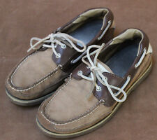 Sperry Topsider Mens Boat Deck Shoes 2 Tone Brown Leather size 8
