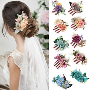 Women Boho Flower Hair Comb Floral Hair Pin Clip Wedding Bridal Hair Accessories
