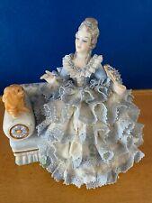 New listing Irish Dresden Lady Elizabeth Porcelain Figurine Petting Puppy On Settee Ireland