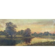 Antique Landscape by Listed Artist Edwin Cole Oil On Canvas Signed