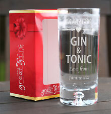 Personalised Engraved Boxed Gin & Tonic Glass Gift Birthday Christmas Heart