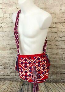 Authentic 100% Wayuu Mochila Colombian Crossbody Handmade Bag Red White Blue