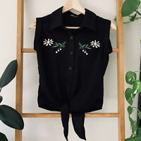 Revival Womens Black Daisy Sleeveless Button Up Tie Front Blouse Top Size 6