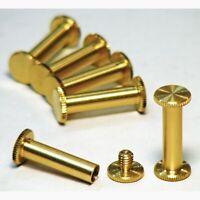 6x 20mm genuine brass Chicago bookbinding interscrews posts and screws