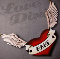 Customised Tattoo Red Heart With Wings Necklace Rockabilly