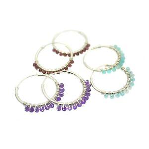 Hoop Earrings Sterling Silver Hoops Gemstone Beads Gift Bag