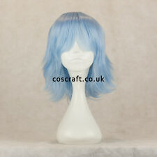 Medium flick cosplay costume wig in baby blue, UK SELLER, Ash style