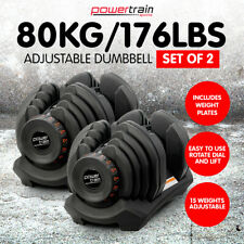 New Adjustable Dumbbells Set Home Gym Exercise Equipment Free Weights 80kg