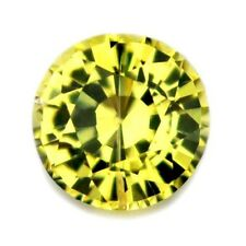 4.24mm Round Certified Natural Lime Yellow Sapphire 0.38ct VVS Madagascar Gem