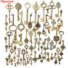 70pcs Antique Old LOOK Skeleton Keys Retro Vintage Metal Bow Pendant Collectable