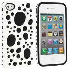 White Black Hybrid Bubbles Hard Silicone Soft Case Cover for iPhone 4 4G 4S