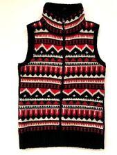 Ralph Lauren Women's Vest Wool Blend Red Blue White Nordic Zip Front - Small NWT