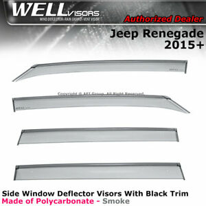 WELLvisors For Jeep Renegade 2015-2020 Side Clip on Sun Deflectors Visors Black