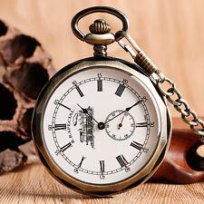 Retro Open Face Roman Numerals Railway Mechanical Hand WINDING Pocket Watches
