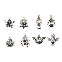 6pcs Silver Hollow 3D Animal Locket Aromatherapy Oil Diffuser Necklace Pendants