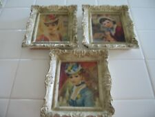 Beautiful Set Of 3 Vintage Ornate Framed French Lady Prints By Sydney Grossman