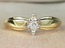 10k Yellow Gold Diamond-.04 tcw Solitaire Band Fine Engagement Ring-Size 5.5