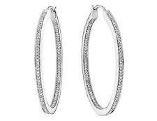 Diamond In and Out Hoop Earrings 1/2 Carat (ctw) in Silver