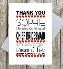 BRIDESMAID THANK YOU CARD PERSONALISED FLOWER GIRL MAID OF HONOUR BEST WOMAN
