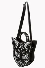 Women's Gothic Pentagram Occult Nemesis Cat Kitty Shoulder Bag By Banned Apparel