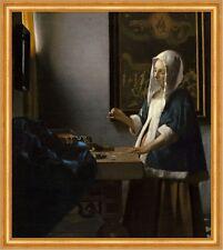Woman Holding a Balance Jan Vermeer Waage Gewichte Schmuck Gemälde B A2 02464