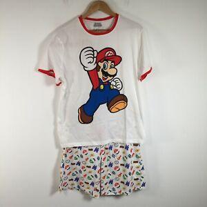 Super Mario mens pyjama set size XL white short sleeve round neck cotton