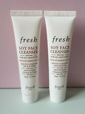 2 x FRESH SOY FACE CLEANSER 20ml travel size extra-gentle gel makeup remover NEW