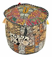 Indian Handmade Puff Round Pouffe Cover Vintage Footstool Ottoman Patchwork