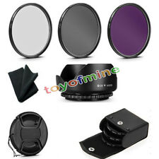 58mm UV CPL FLD Circular Polarizing Filter Kit + Lens Hood +Cap For DSLR Camera