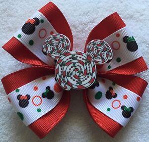 "Girls Hair Bow 4"" Wide Mickey Peppermint Swirl Christmas Flatback Alligator Clip"