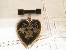 Antique Victorian Mourning black enamel monogram heart locket pin or Pendant
