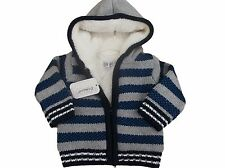 BNWT Baby boys knitted striped fur lined hooded jacket cardigan up to 4 Years