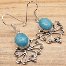 925 Silver Plated Beautiful Simulated LARIMAR Gemset Expensive-Looking Earrings