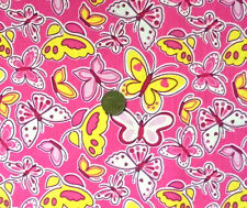 PINK WITH A PATTERN OF LARGE BUTTERFLIES -  POLYCOTTON FABRIC FQ'S