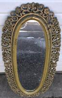Vintage Hollywood Regency Mirror With Floral Design 1970s Plastic Hanging