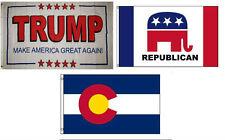 3x5 Trump White #2 & Republican & State of Colorado Wholesale Set Flag 3'x5'