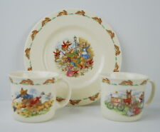 Royal Doulton Bunnykins Two Milk Mugs and a plate Ice Cream Windy Day Market