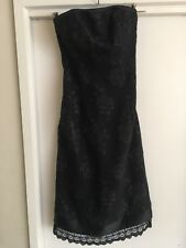 Ladies Black REVIEW Dress Size 6 Strapless Formal Roses Fitted Classic Lace