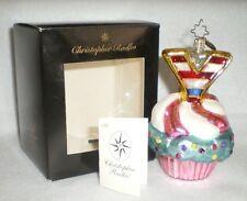 Christopher Radko Glass Christmas Ornament Joy Cakes Cupcake Pink Blue