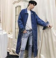 Mens Denim Long Trench Coat Loose Parkas Retro Casual Jeans Jacket Knee Length