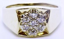 Men's 14K Solid Yellow Gold Round Diamond Cluster Polished Signet Ring Size 12.5